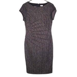 Cache 8 Ponte Pintuck Dress Faux Leather Trims